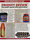 HeavyGrips hand-grip review in Joe Weider 's Flex magazine- Click here to enlarge product review in this fantastic bodybuilding mag.