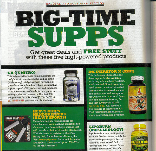The Heavy Grips handgripper product review in Joe Weider's Muscle and Fitness bodybuilding magazine-- Click here to enlarge product reviews.